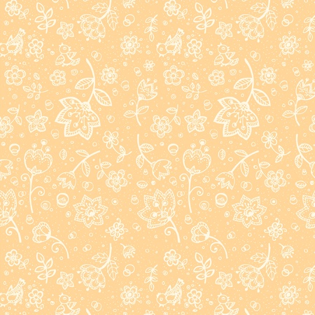 Hand-drawing coffee-and-milk colors flower pattern Vector