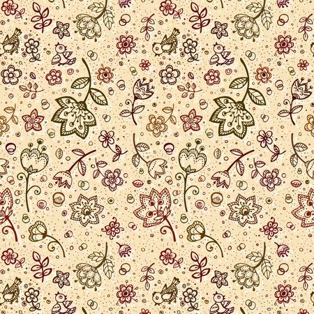 flor de vainilla: Hand-drawing caf� con leche colores patr�n de flores