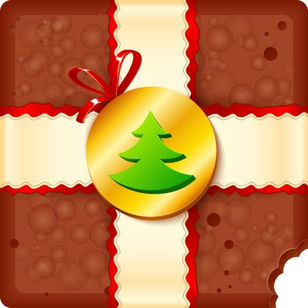 Christmas chocolate box with chocolate badge and ribbon Stock Vector - 16403152