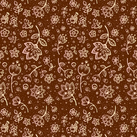 Hand-drawing chocolate and milk colors flower pattern