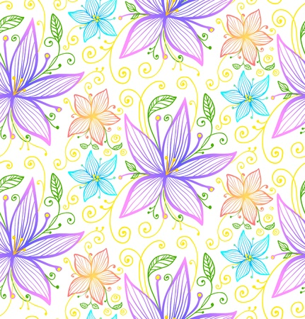 grass line: Vintage blue and violet flowers seamless  pattern