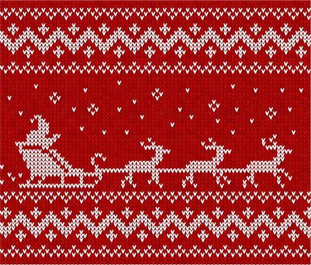 maglioni: Maglione rosso con Santa e la sua cervi seamless pattern