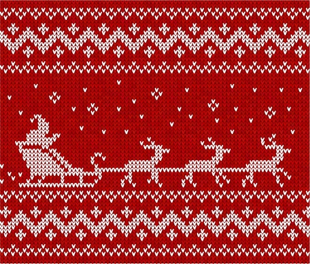 Red sweater with Santa and his deers seamless pattern Illustration