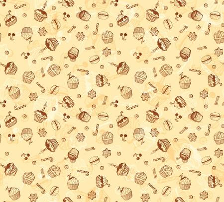 beignet: Tasty main-dessin de carte de mod�le de petit g�teau fait transparente