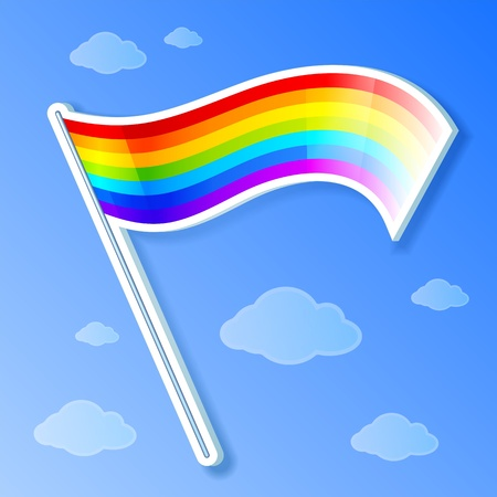 plactic:  isolated and shaded rainbow flag