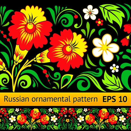russian tradition:  floral ornamental pattern in traditional Russian style