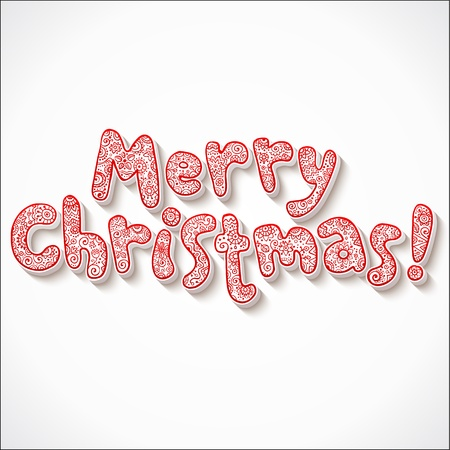 christmas concept: Hand lettering ornate Merry Christmas isolated sign