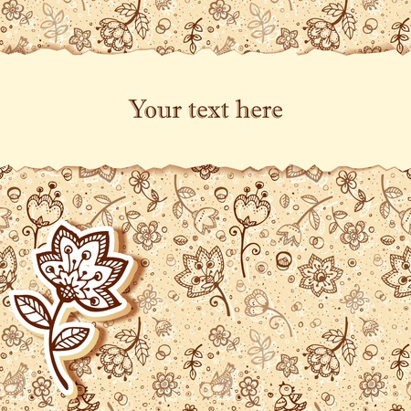 creme: Greeting card in coffee and milk colors flower Illustration