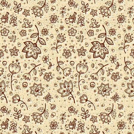 hand made: Hand-drawing coffee-and-milk colors flower pattern
