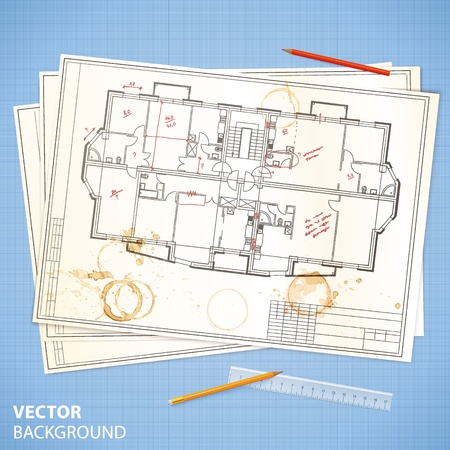 drafting tools: Architectural papers with sketches on the blue millimeter paper Illustration