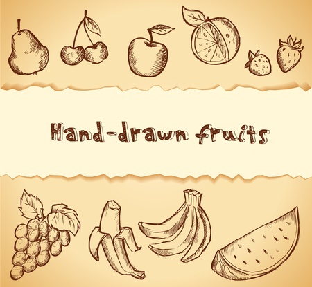 Vintage hand-drawn sketch of fruits icon set Stock Vector - 16403234