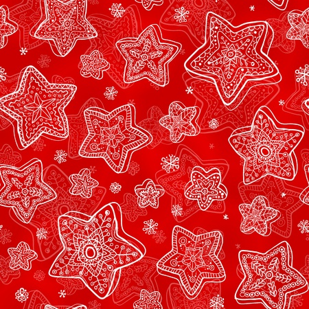 Hand-drawn stars-snowflakes red seamless pattern Vector