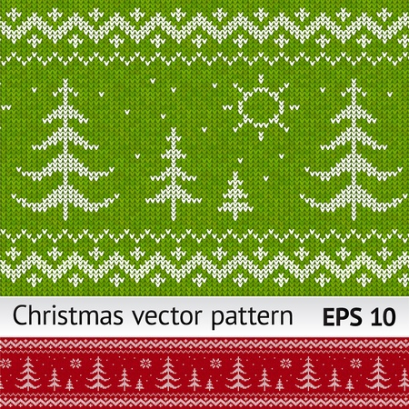 Knitted christmas trees on green and red seamless pattern Stock Vector - 16403274