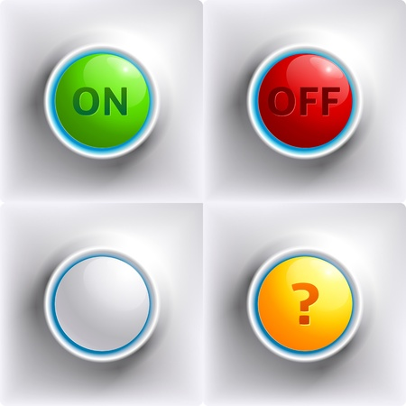 Colors buttons  red, green, yellow and white for your design Vector