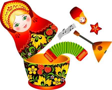soviet union: Russian tradition matryoshka doll with music instruments inside