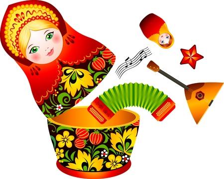 muñecas rusas: Tradición rusa matrioshka muñeca con instrumentos musicales en el interior