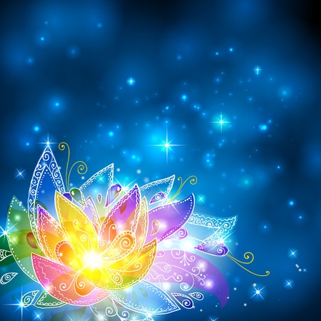 Magic shining rainbow esoteric flower on cosmic background