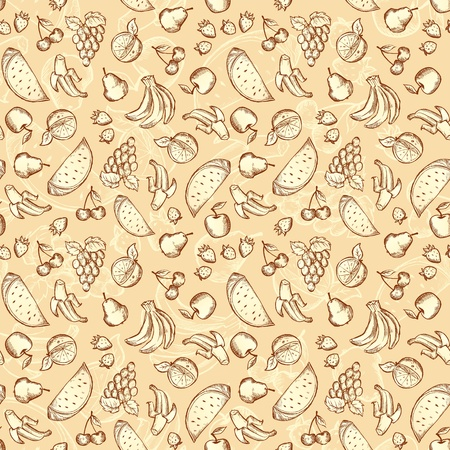 Vintage hand drawn sketched fruits seamless pattern Illustration