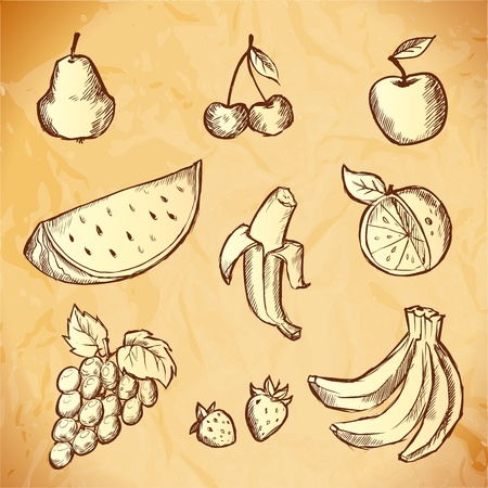 Vintage hand-drawn sketch of fruits icon set Vector