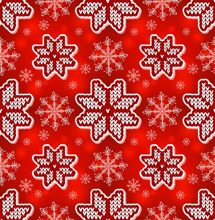 Christmas red ornamental embroidery seamless pattern Vector