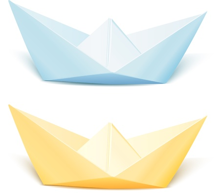 Two isolated vector paper ships  blue and yellow Vector