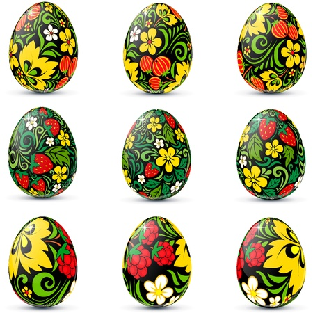 russian easter: Easter eggs icon set in traditional russian style Hohloma Illustration