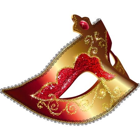 carnaval masker: Geïsoleerde Venician carnaval masker vector illustratie Stock Illustratie
