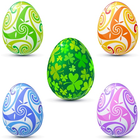 Easter eggs icon set decorated in celtic style Vector