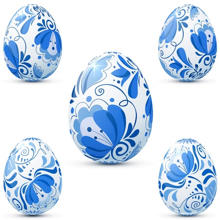 Easter eggs icon set in traditional russian style Gzhel