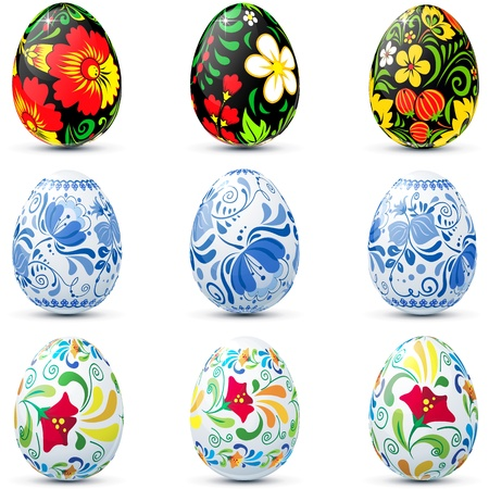 Easter eggs in traditional russian style Hohloma and Ghzel Vector
