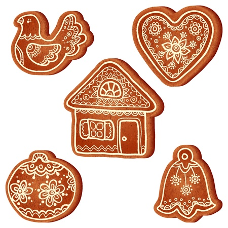 romantically: Isolated realistic vector christmas sweets set