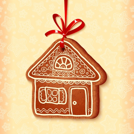 gingerbread: Ornate vector traditional christmas sweet with red ribbon