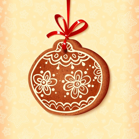 Ornate vector traditional christmas sweet with red ribbon Vector