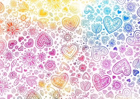 Watercolor light hand painted background with hearts photo