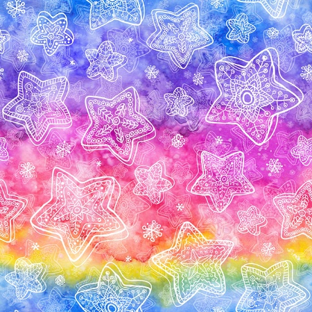 Abstract watercolor seamless pattern with white painted stars photo