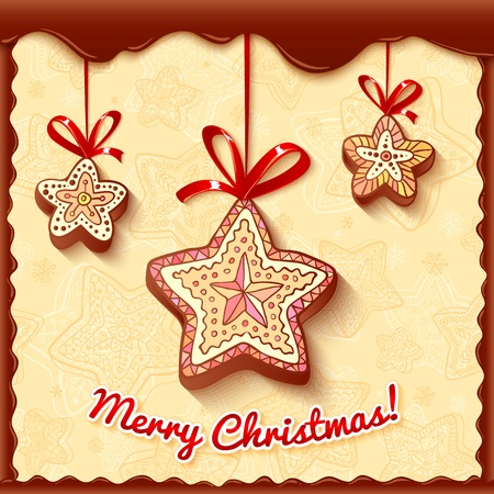 Christmas bright honey-cakes with red ribbons and sign Stock Vector - 16595659