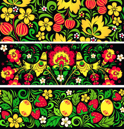Set of seamless patterns in traditional russian style Hohloma Vector