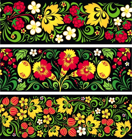 Set of seamless patterns in traditional russian style Hohloma Illustration