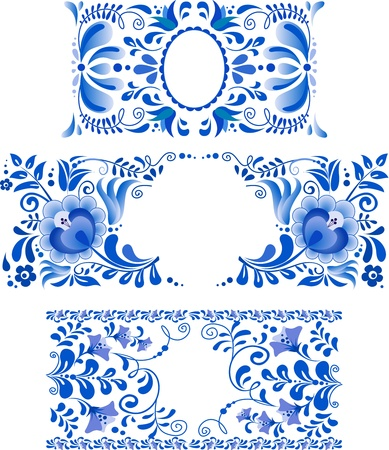 Russian ornaments art frames in traditional Gzhel style Vector