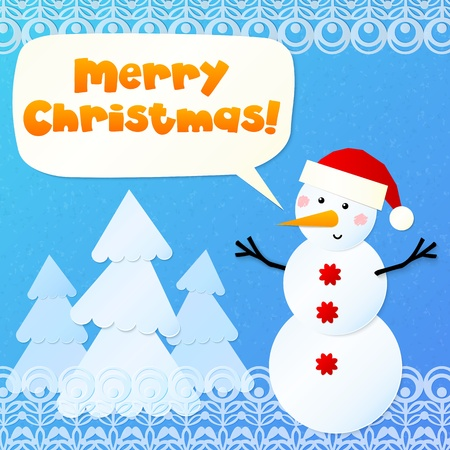 Paper snowman with blue trees and sign Merry Christmas Vector