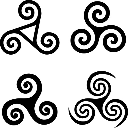 triple: Set of black isolated celtic symbols - triskels Illustration