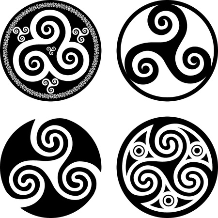 celtic symbol: Set of black isolated celtic symbols - triskels Illustration