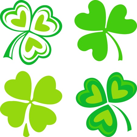 four leaf clovers: Isolated green ornamental Irish symbols - shamrocks Illustration