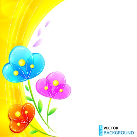 flower layout: Bright shining rainbow flowers vector background