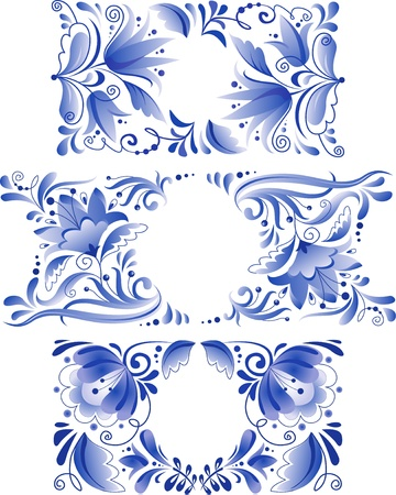 Russian ornaments art frames in traditional Gzhel style Stock Vector - 16633951