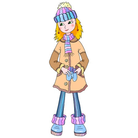 Nice young girl in season winter wear Vector