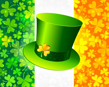 Saint Patrick s hat on Irish flag made from lucky magic clovers Vector