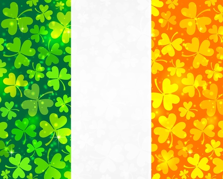 Vector Irish flag background made from green and orange clovers Vector