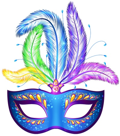 carnaval: Vector blauwe sierlijke Venetiaanse carnaval masker met veren