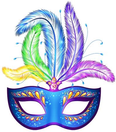 maski: Wektor niebieski ozdobny weneckiego maski karnawałowe z piórami Ilustracja